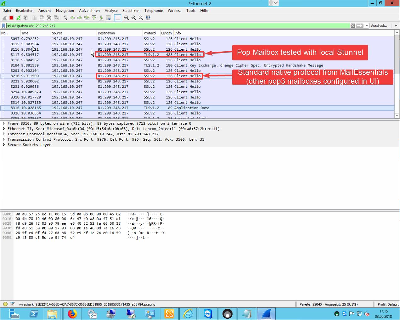 TLS1.2 in Wireshark using stunnel