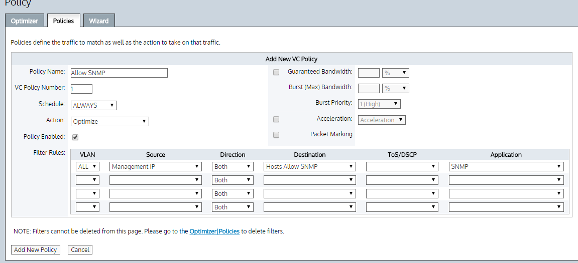 This shows how to create a policy to allow snmp access to the exinda from a certain hosts