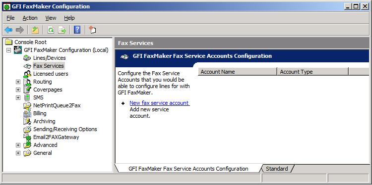 'Fax Services' Configuration