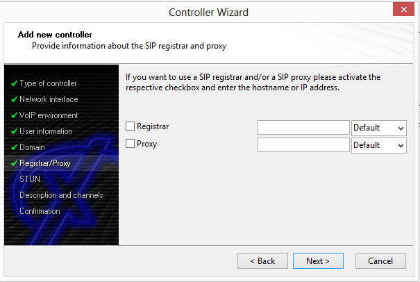 Controller Wizard: Add a new controller - Provide the SIP registrar and proxy information