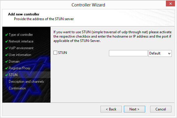 Controller Wizard: Add a new controller - Provide the address of the STUN server