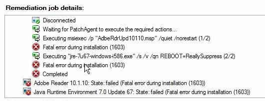Fatal error during installation (1603)