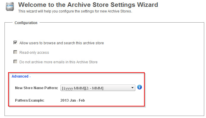 New Archive Store Settings